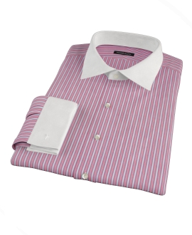 Cranberry and Blue Multi-Stripe Custom Made Shirt