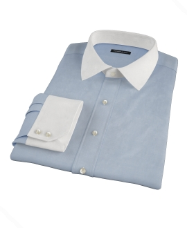 Japanese Blue Cavalry Twill Fitted Dress Shirt