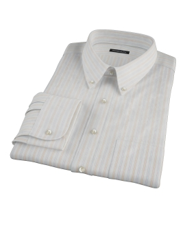 Blue and Orange Stripe Fitted Dress Shirt