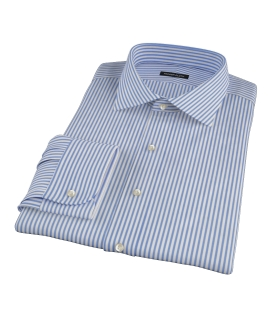 Blue Wrinkle Resistant Bordered Stripe Fitted Shirt