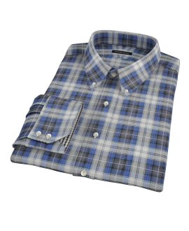 Blue and Charcoal Large Plaid Fitted Shirt