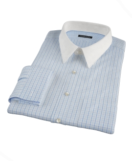 Light Blue Windowpane Glen Plaid Fitted Dress Shirt