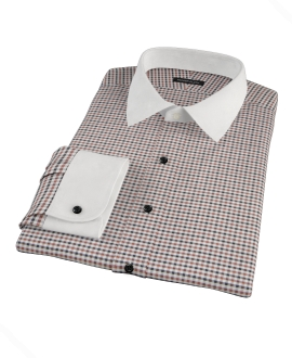 Brown and Black Gingham Twill Dress Shirt