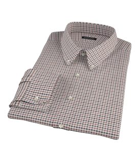 Brown and Black Gingham Twill Fitted Shirt