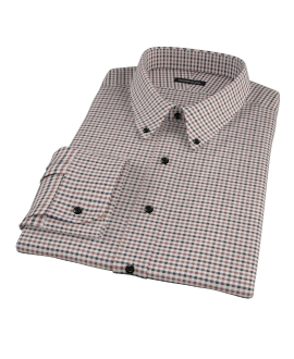 Brown and Black Gingham Twill Fitted Dress Shirt