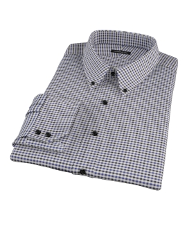 Blue and Black Gingham Twill Men's Dress Shirt