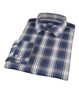 Large Blue and Pink Plaid Dress Shirt