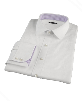 White Pinpoint Fitted Dress Shirt