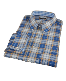 Blue and Orange Large Plaid Fitted Shirt