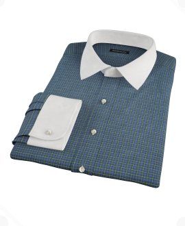 Navy Yellow Tartan Fitted Dress Shirt 