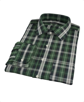 Green Navy Plaid Check Custom Dress Shirt 