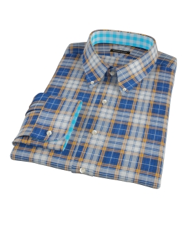 Blue and Orange Large Plaid Custom Made Shirt