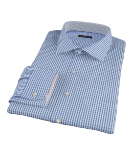 Blue Wrinkle Resistant Bordered Check Fitted Dress Shirt