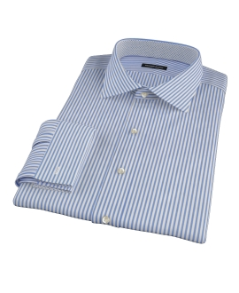 Blue Wrinkle Resistant Bordered Stripe Custom Dress Shirt