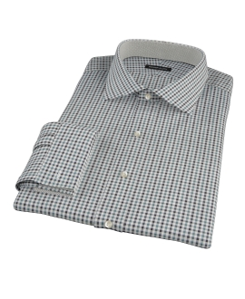 Green and Black Gingham Twill Tailor Made Shirt 