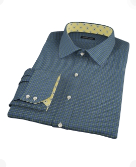 Navy Yellow Tartan Custom Made Shirt