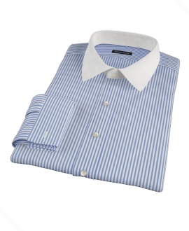 Blue Wrinkle Resistant Bordered Stripe Men's Dress Shirt 