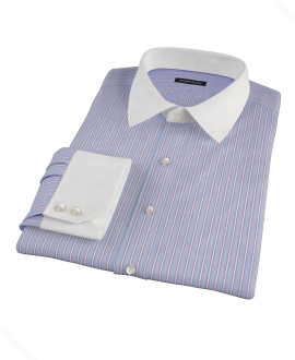 Light Blue and Pink Multi-Stripe Dress Shirt