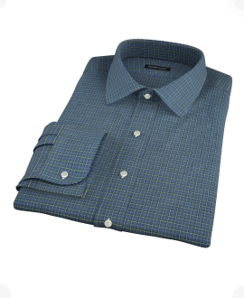 Navy Yellow Tartan Men's Dress Shirt