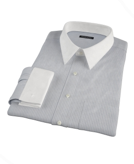 Navy End-on-End Stripe Fitted Dress Shirt 