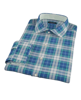 Blue Green Reversible Plaid Fitted Shirt