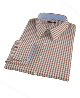 Clove Brown Gingham Fitted Dress Shirt