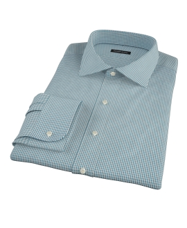 100s Dark Green Mini Gingham Custom Dress Shirt 