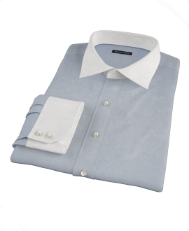 Dark Blue End on End Fitted Shirt 