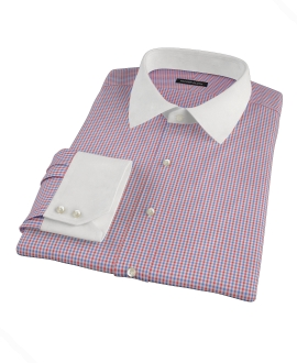 Red and Blue Mini Gingham Men's Dress Shirt