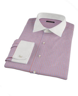 Red and Blue Mini Gingham Tailor Made Shirt 