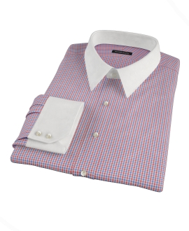 Canclini Red and Blue Mini Gingham Fitted Dress Shirt