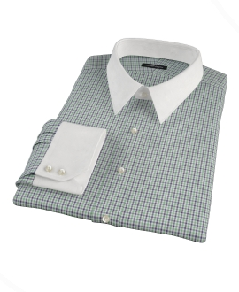 Green and Blue Mini Gingham Fitted Shirt 