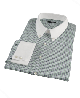 Green and Blue Mini Gingham Dress Shirt