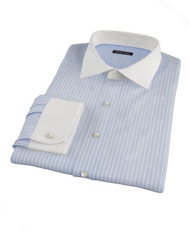 Canclini Light Blue Reverse Bengal Stripe Fitted Shirt