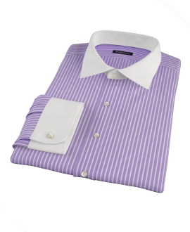 Canclini Purple Reverse Bengal Stripe Fitted Shirt