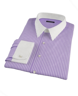 Purple Reverse Bengal Stripe Fitted Dress Shirt 