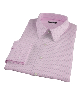 Pink and Navy Stripe Men's Dress Shirt 