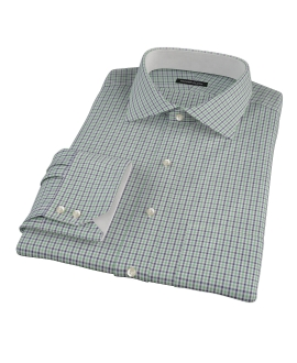 Green and Blue Mini Gingham Fitted Dress Shirt 