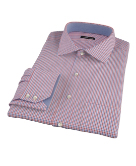 Canclini Red and Blue Mini Gingham Men's Dress Shirt