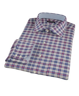 Blue and Orange Tartan Custom Dress Shirt