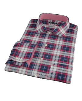 Navy Red Large Plaid Fitted Shirt 