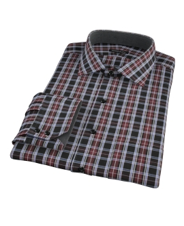 Whistler Maroon Plaid Fitted Dress Shirt 