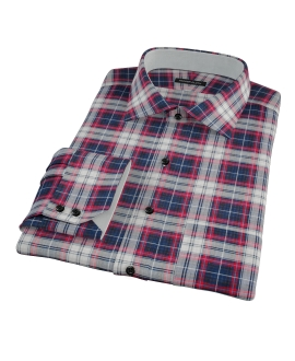 Navy Red Large Plaid Custom Dress Shirt 
