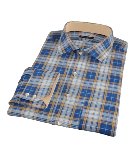 Blue and Orange Large Plaid Dress Shirt