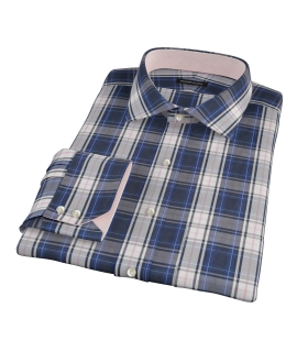 Large Blue and Pink Plaid Men's Dress Shirt 