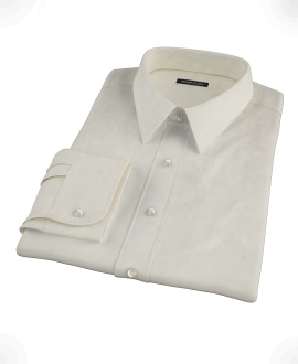 Ecru Pinpoint Fitted Shirt 