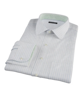 Albini Light Blue Satin Stripe Dress Shirt