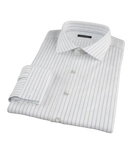 Blue Wide Stripe Men's Dress Shirt