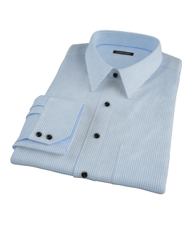 Canclini Light Blue Mini Gingham Custom Dress Shirt