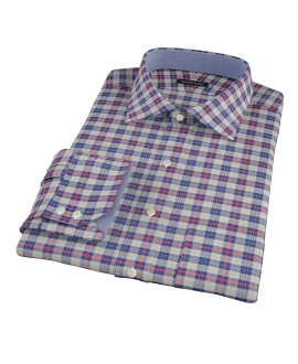 Blue and Orange Tartan Fitted Dress Shirt 